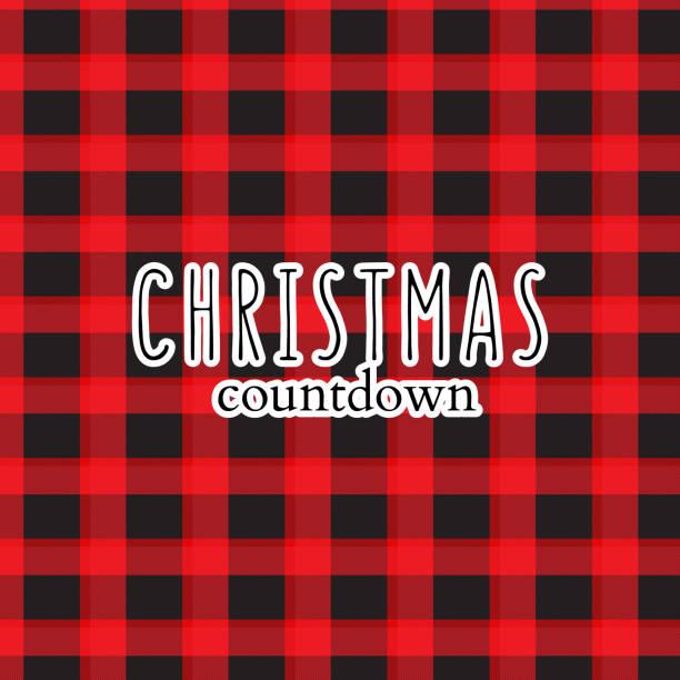 xmas greeting, winter holidays xmas countdown text  on plaid red black background. modern sabta claus decor, new year ornament typography - secret santa messages stock illustrations
