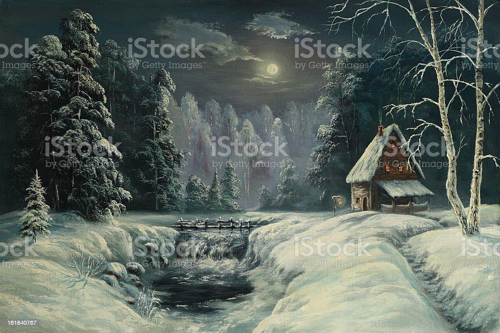 Xmas moonlit night royalty-free stock vector art