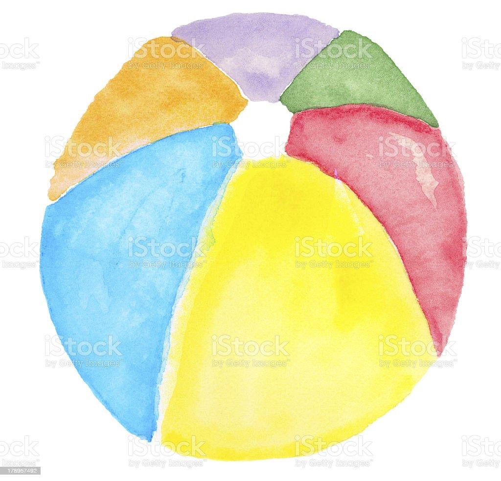 XXLarge Watercolor Beachball royalty-free stock vector art