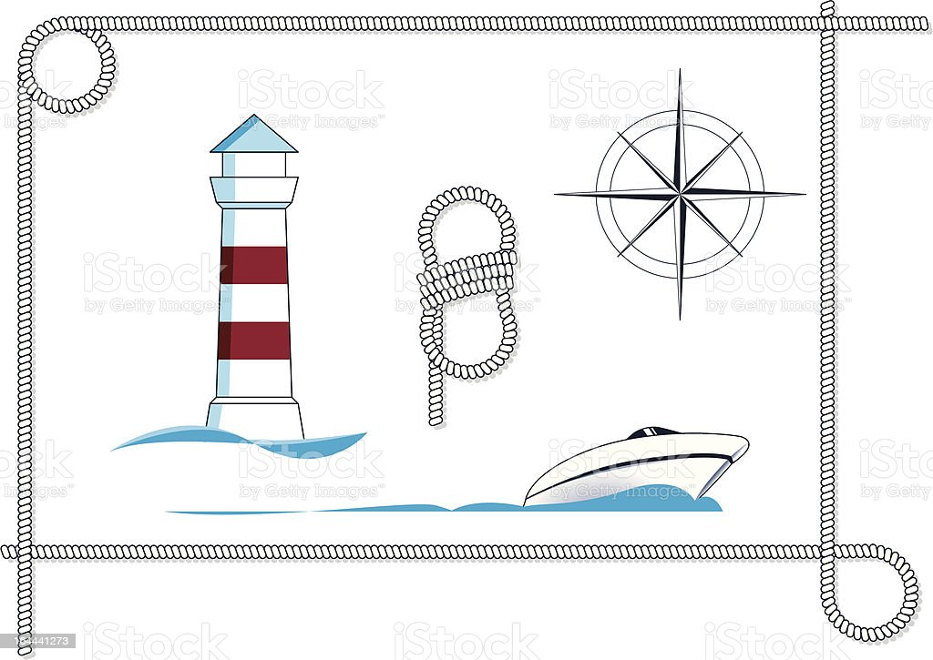 Yacht and nautical-icons royalty-free stock vector art