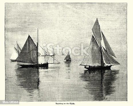 Vintage engraving of Yachting on the River Clyde, 19th Century