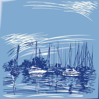 Iates Ao Longo Do Cais - Arte vetorial de stock e mais imagens de Barco à Vela