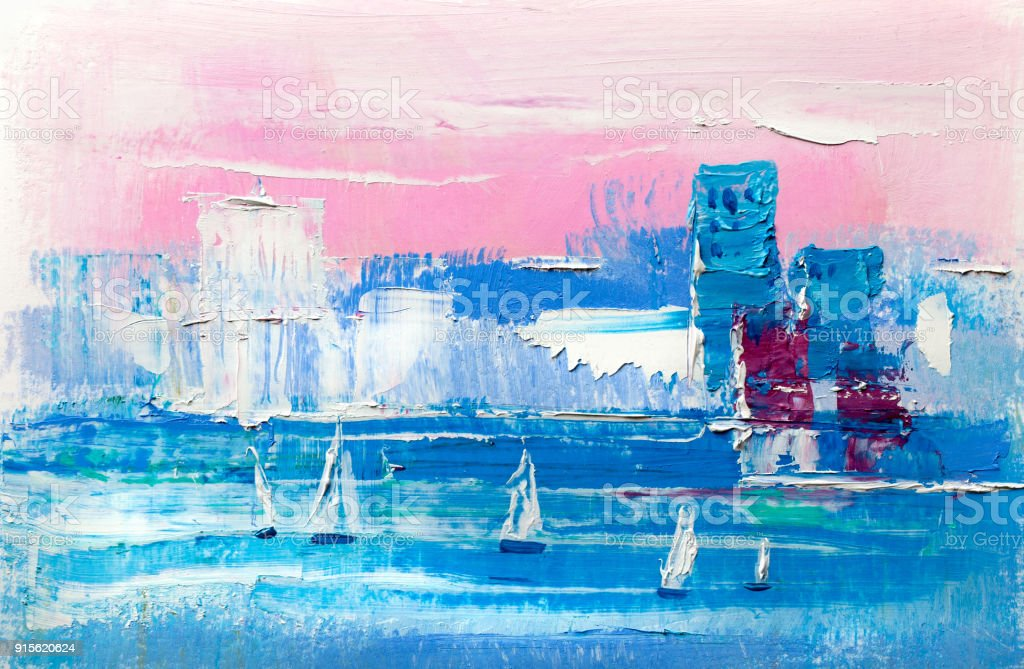 Abstract oil painting, white yachts against the background of the...