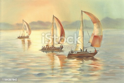 istock yachts on the sea in the evening light watercolor 1184397842