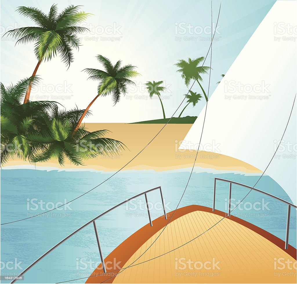 Yaght board mooring to coast vector art illustration