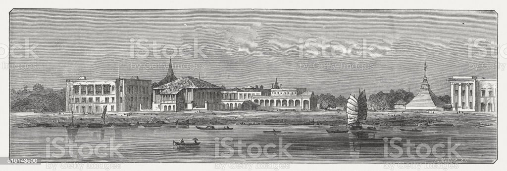 Yangon (Rangoon), wood engraving, published in 1873 vector art illustration