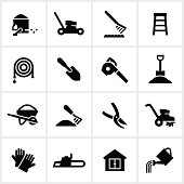 Yard equipment/tools. All white strokes/shapes are cut from the icons and merged allowing the background to show through.