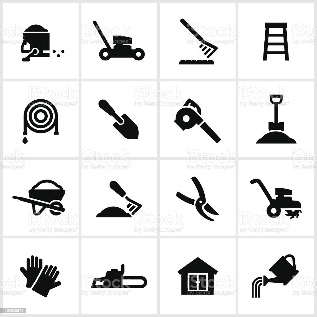 Yard Equipment Icons vector art illustration