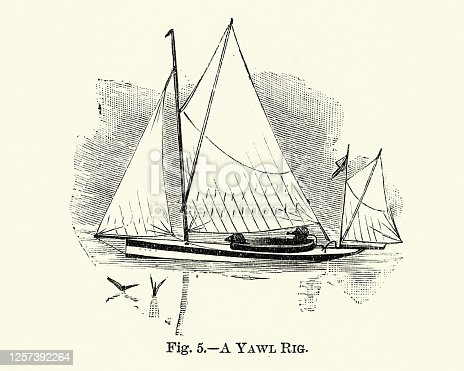Vintage illustration of a Yawl rig, a two-masted sailing craft, 19th Century