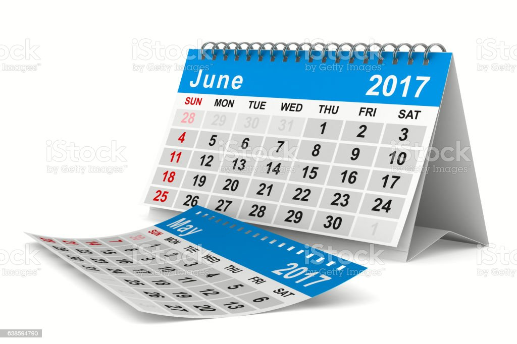 2017 year calendar. June. Isolated 3D image vector art illustration