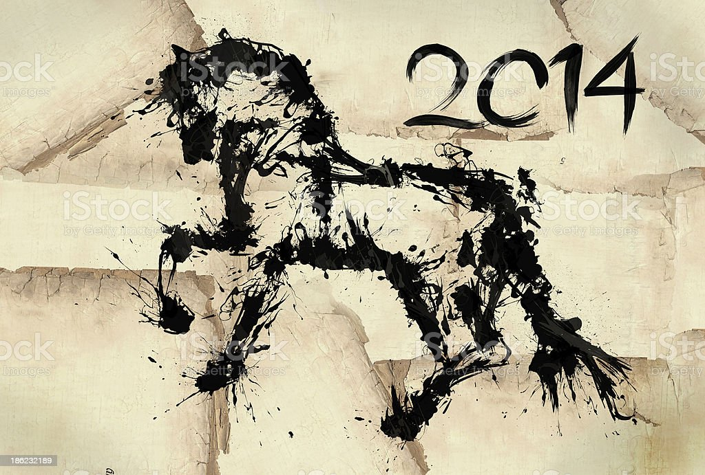 Year of horse draw 2014 black ink vector art illustration