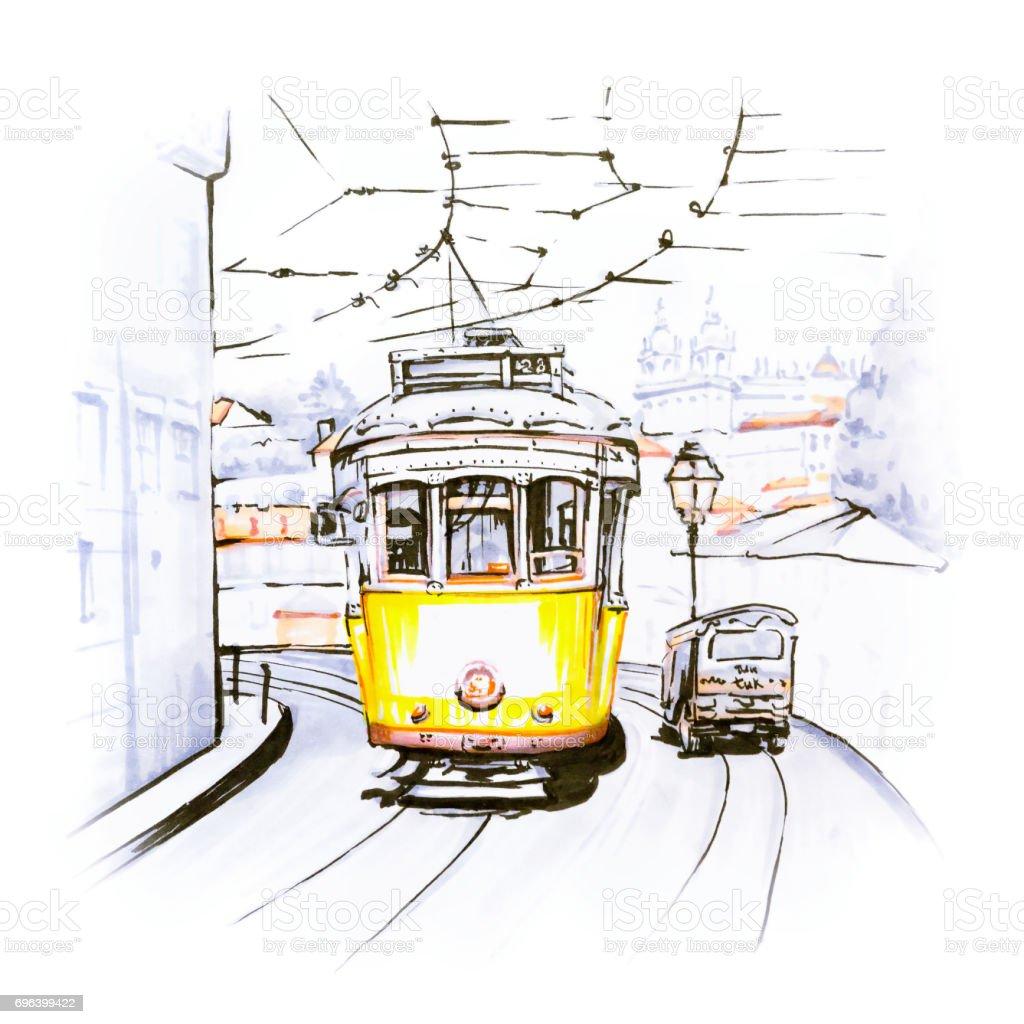 Yellow 28 tram in Alfama, Lisbon, Portugal - Royalty-free Alfama Ilustração de stock