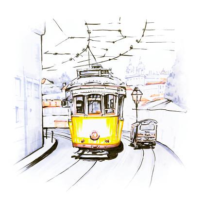 Yellow 28 Tram In Alfama Lisbon Portugal - Arte vetorial de stock e mais imagens de Alfama