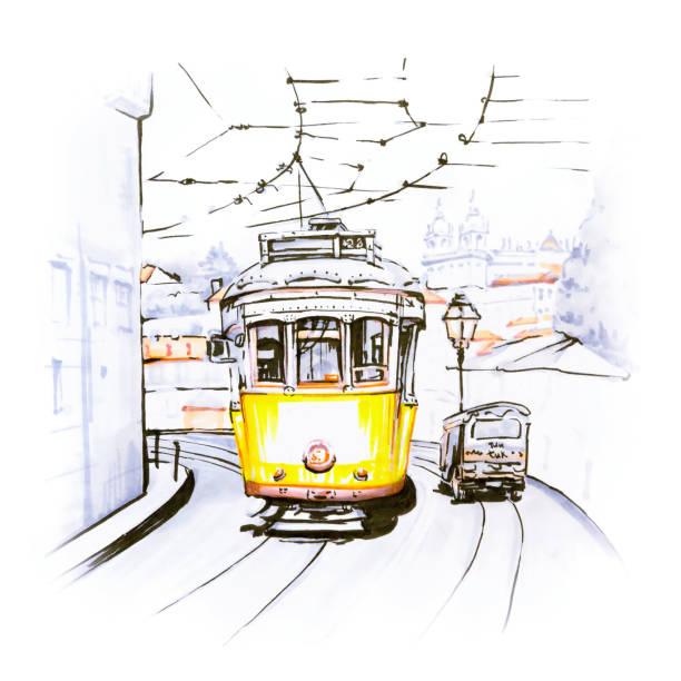 ilustrações de stock, clip art, desenhos animados e ícones de yellow 28 tram in alfama, lisbon, portugal - eletrico lisboa