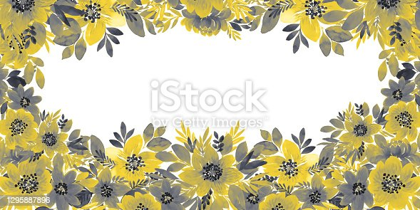 Watercolor illustration with gray-yellow flowers and leaves.