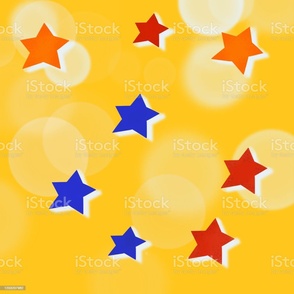 Yellow Background With Red Blue Orange Stars And White Circles Stock Illustration Download Image Now Istock