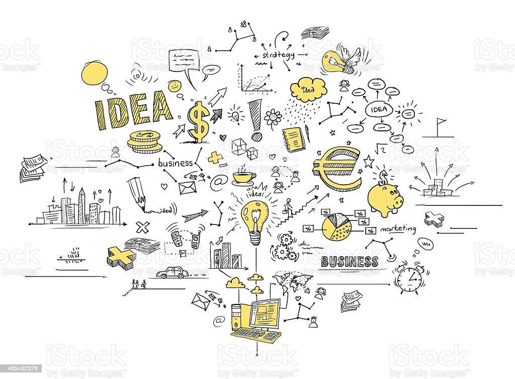 Affaires et crayonnages - Illustration vectorielle