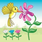 Colibri Amarillo Volando