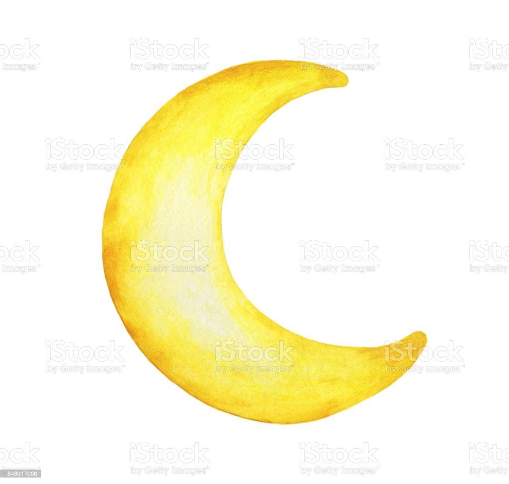 黄色の三日月を描いた白地 - 水彩イラスト分離。 ベクターアートイラスト