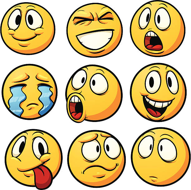 Yellow emoticons vector art illustration