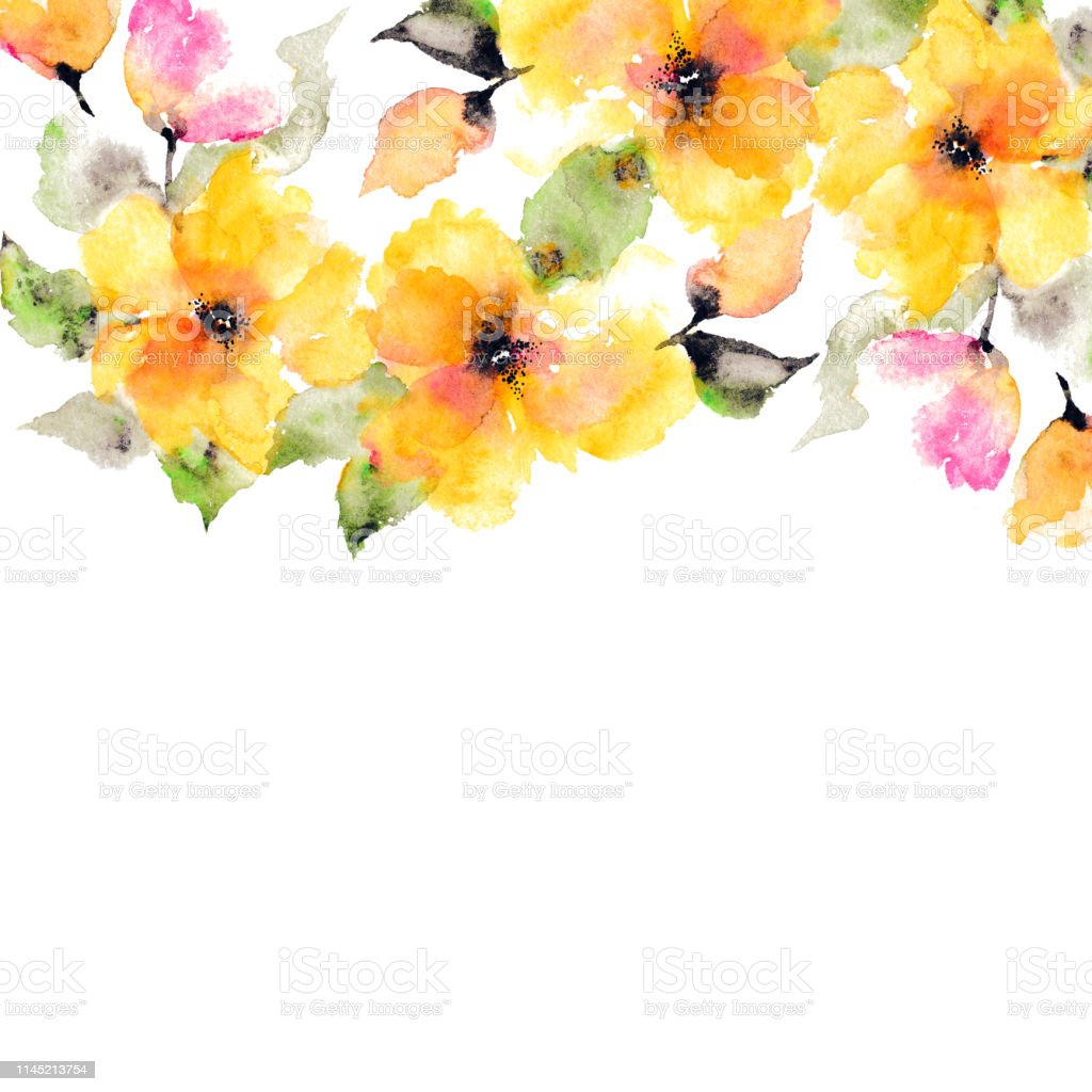 yellow flowers watercolor floral background wedding invitation design floral decorative element yellow flowers border for decoration stock illustration download image now istock yellow flowers watercolor floral background wedding invitation design floral decorative element yellow flowers border for decoration stock illustration download image now istock