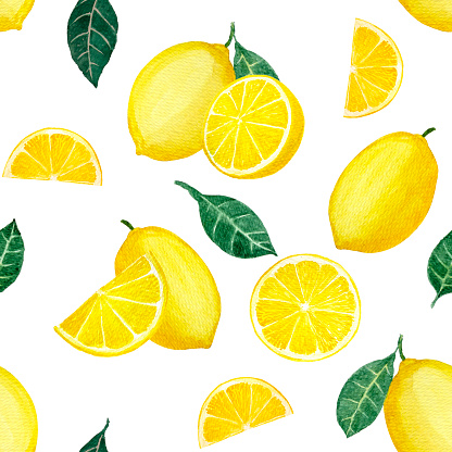 Yellow lemon fruit and sliced lime and green leaves, illustration watercolor drawing seamless pattern, isolated on white with clipping path