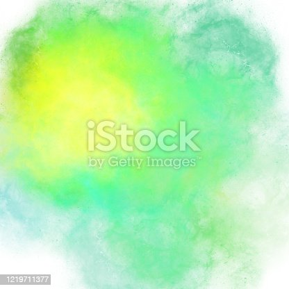 Yellow light green stains of watercolor paint with a gradient. Abstract backdrop wallpaper background, beautiful texture stains of paint digital illustration