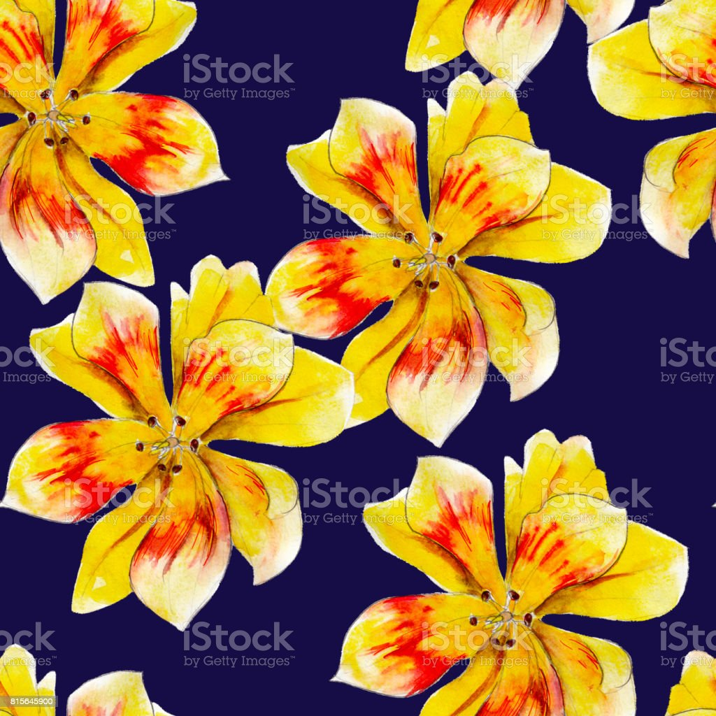 Yellow lily flower watercolor seamless pattern bright tropical yellow lily flower watercolor seamless pattern bright tropical flowers isolated on blue background hand izmirmasajfo