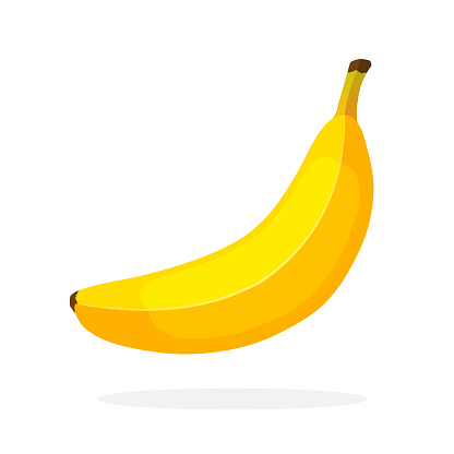 Yellow not peeled banana