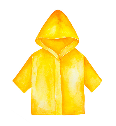 Yellow raincoat with hood and sleeves to wear outdoors in bad rainy weather.