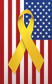 Yellow Ribbon and American Flag