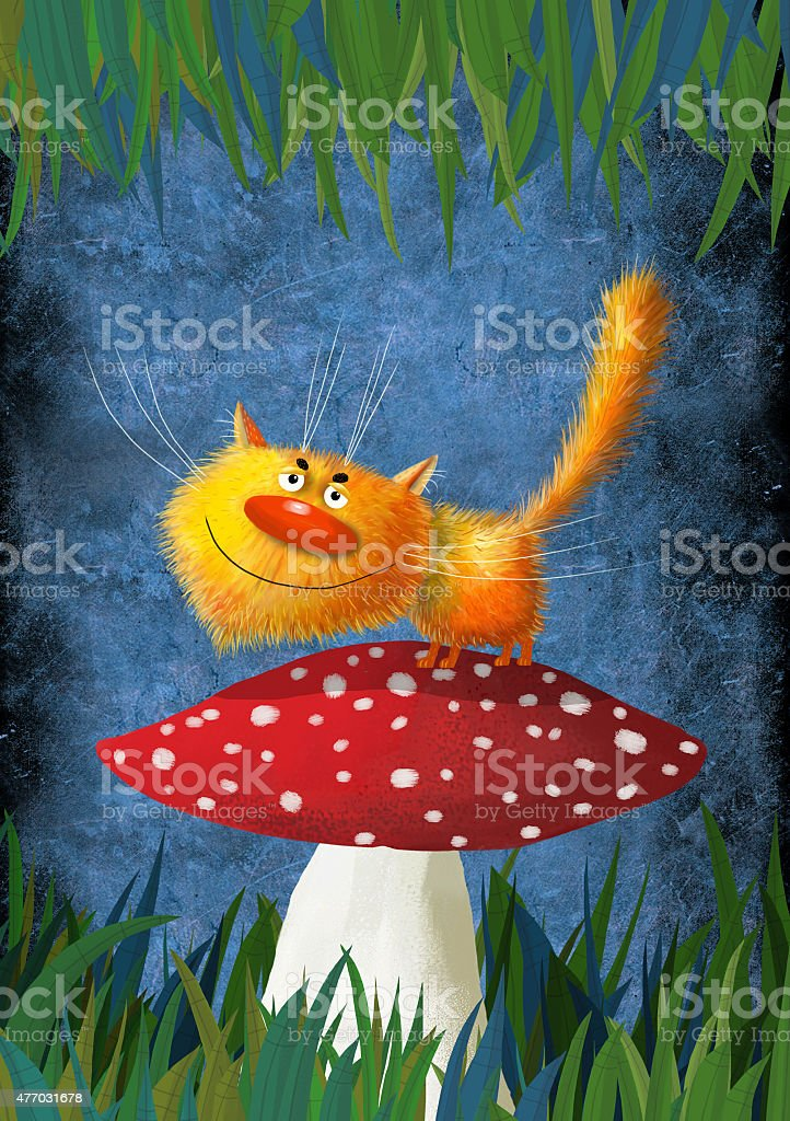 Yellow Smiling Cat On the Mushroom vector art illustration