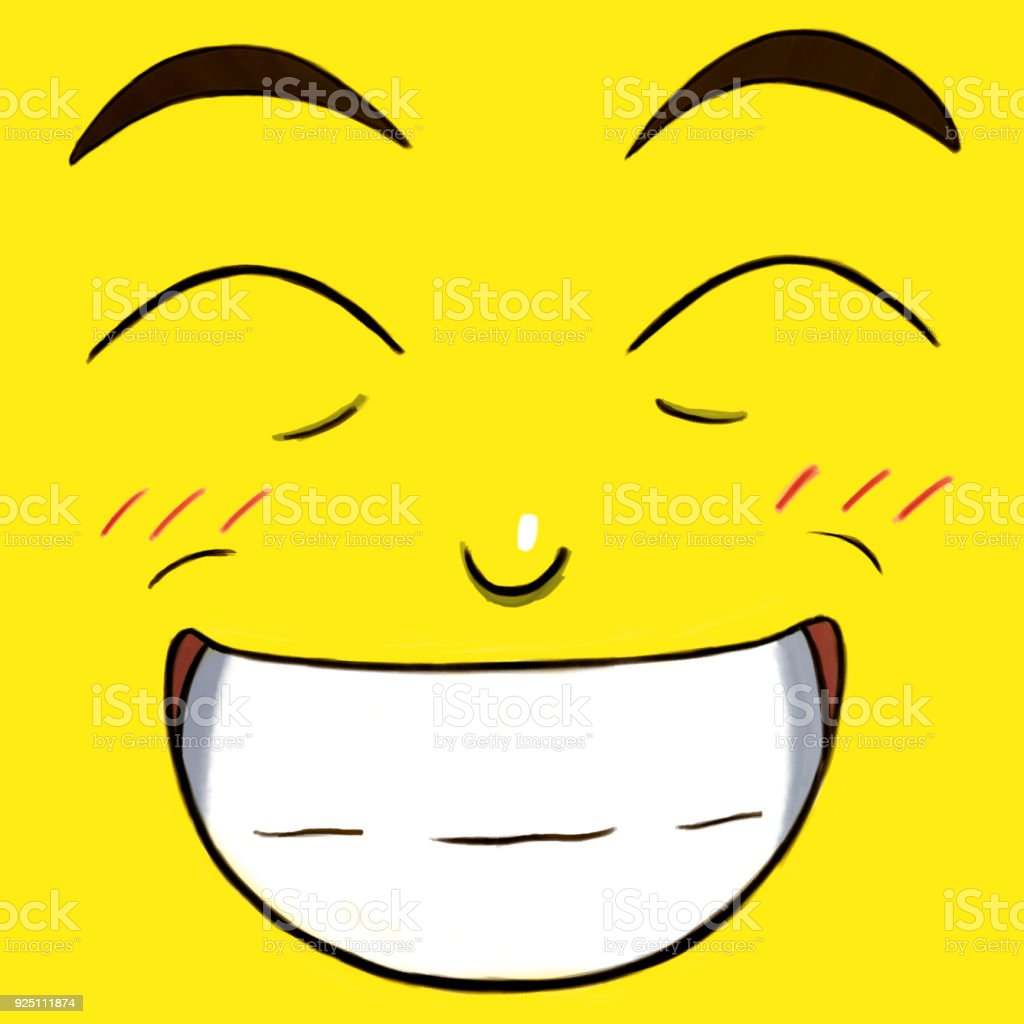 Yellow Smiling Happy Face vector art illustration