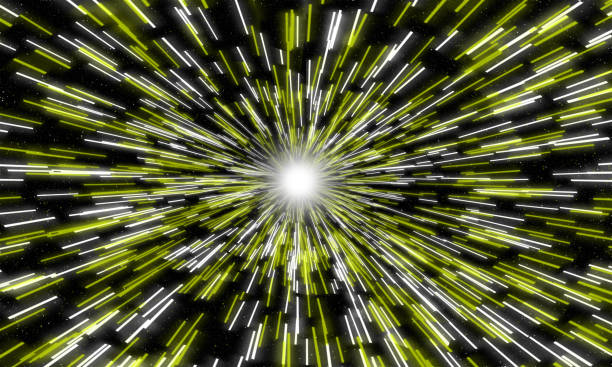 illustrazioni stock, clip art, cartoni animati e icone di tendenza di yellow stars, light motion in space. - big bang