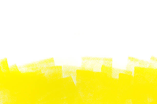 yellow stroke of paint roller strokes of yellow paint roller on white wall paint roller stock illustrations