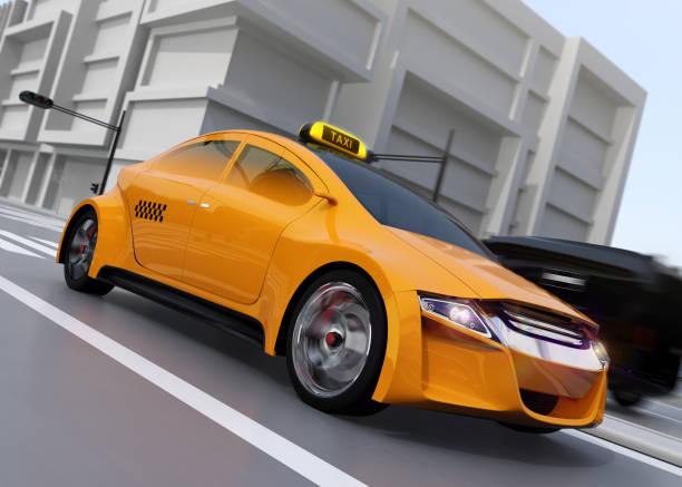 bildbanksillustrationer, clip art samt tecknat material och ikoner med gul taxi körning på gatan - diagonala övergpångsställ