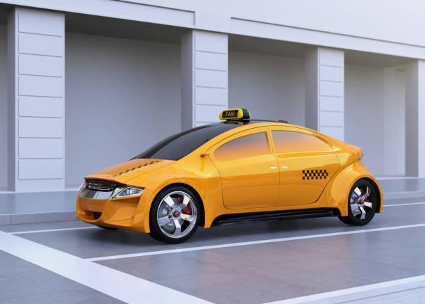 bildbanksillustrationer, clip art samt tecknat material och ikoner med gul taxi stannade vid raden stopp - diagonala övergpångsställ