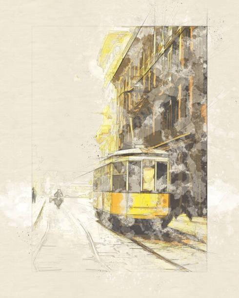 illustrazioni stock, clip art, cartoni animati e icone di tendenza di yellow tram car milano - tecnica digitale mista - milano