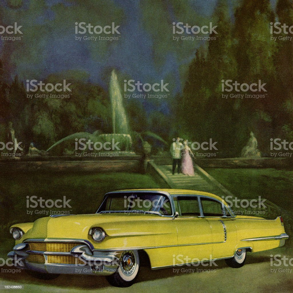 Yellow Vintage Car in Front of Fountian royalty-free yellow vintage car in front of fountian stock vector art & more images of adult