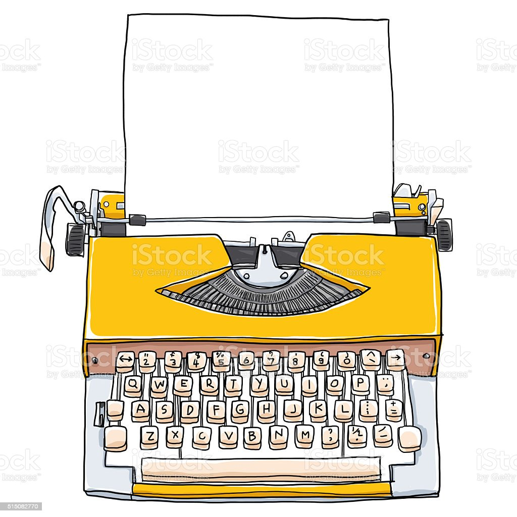 yellow vintageTypewriters With blank paper cute art painting illustration vector art illustration