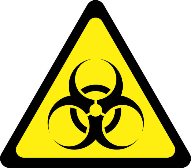 Yellow warning sign with biohazard substances symbol Yellow warning sign with biohazard substances symbol biohazard symbol stock illustrations