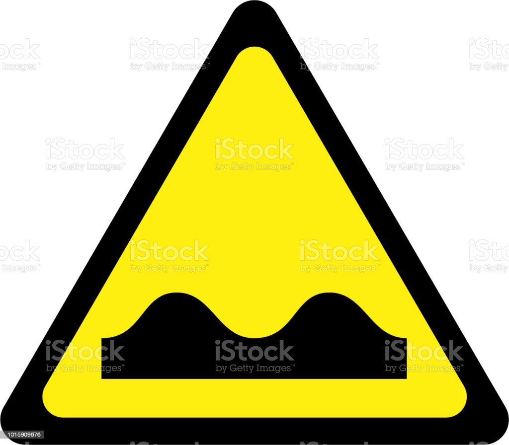 Yellow warning sign with road bumps symbol royalty-free yellow warning sign with road bumps symbol stock illustration - download image now