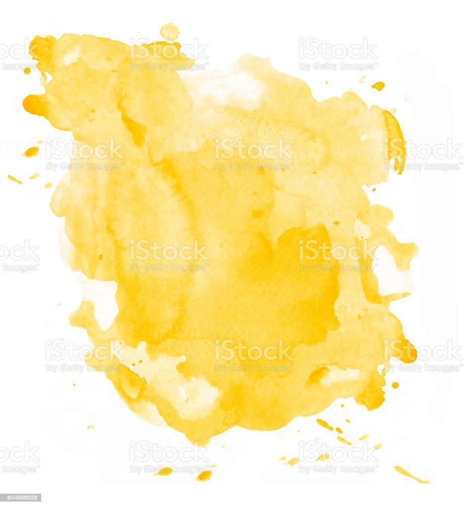 Yellow watercolor background isolated vector art illustration