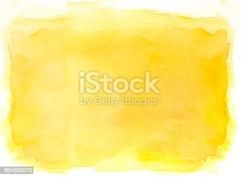 Yellow watercolor background with layers on white watercolor paper