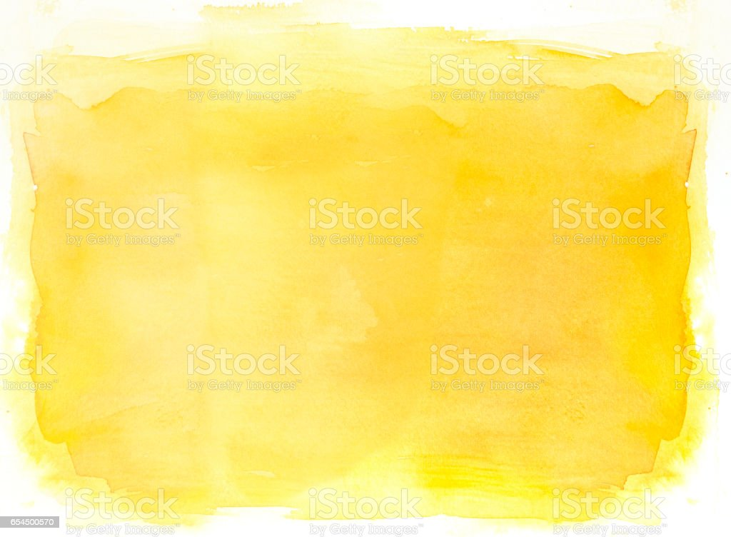 Yellow watercolor background on white vector art illustration