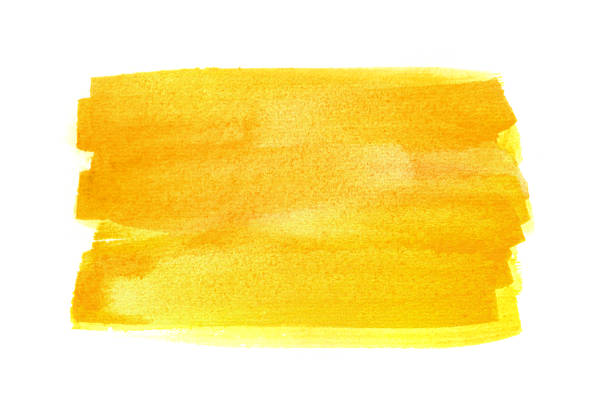 Yellow watercolor rectangle Hand drawn yellow watercolor rectangle on white background tempera painting stock illustrations