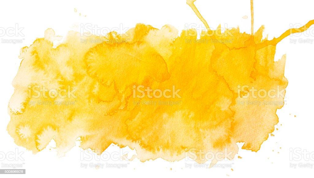 Yellow waterrcolor spot vector art illustration