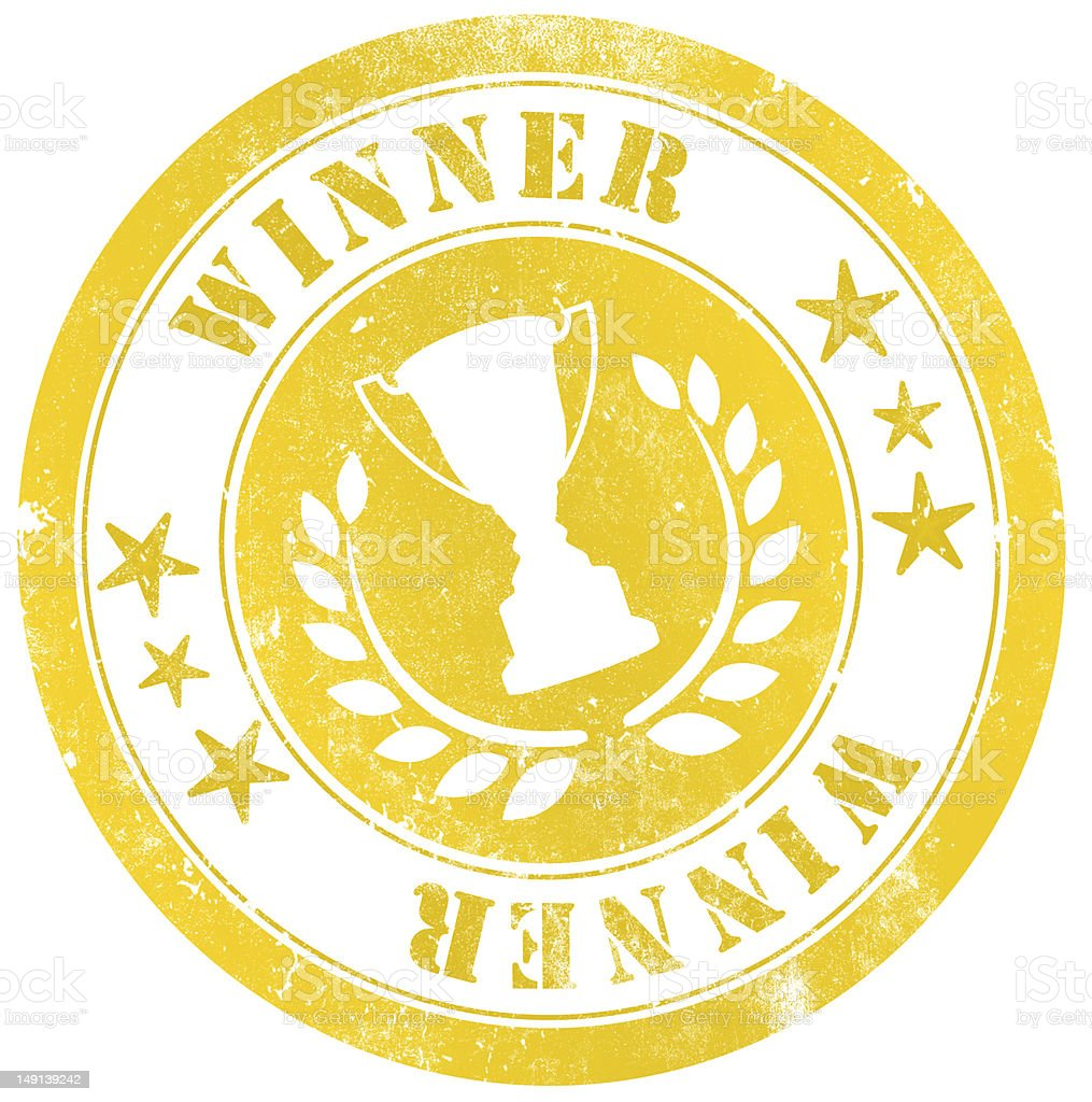 Yellow winner stamp with a trophy in the middle royalty-free stock vector art