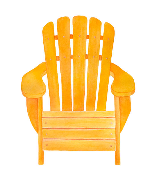 Yellow wood adirondack chair drawing. Classic stylish design, front view, cheerful summer color, comfortable and relaxing. Hand drawn watercolour graphic illustration on white background, cut out. Hand drawn watercolor illustration. muskoka stock illustrations