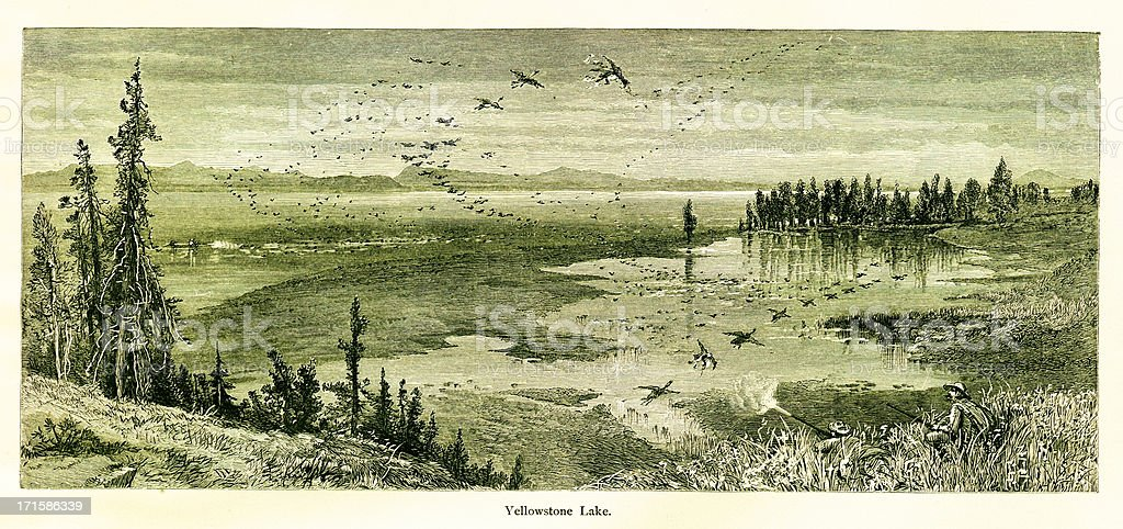 Yellowstone Lake, USA royalty-free yellowstone lake usa stock vector art & more images of 19th century